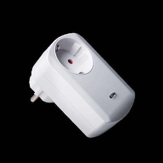 Med väggkontakten kan du fjärrstyra dina lampor och hushållsapparater.