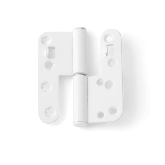 Vita tappgångjärn till aluminiumbeklädda träfönster, 2 par, Vänster