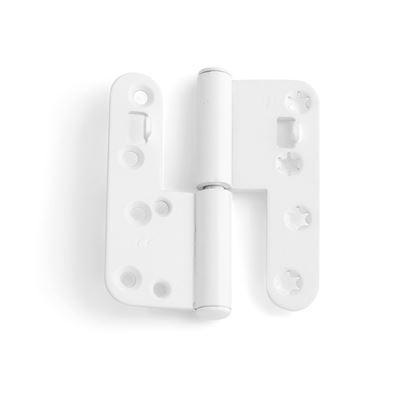 Vita tappgångjärn till aluminiumbeklädda träfönster, 2 par, Höger
