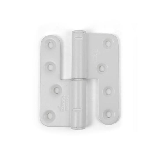 Vita tappgångjärn till träfönster och träfönster med aluminiumbeklädnad, 2 par, Höger.